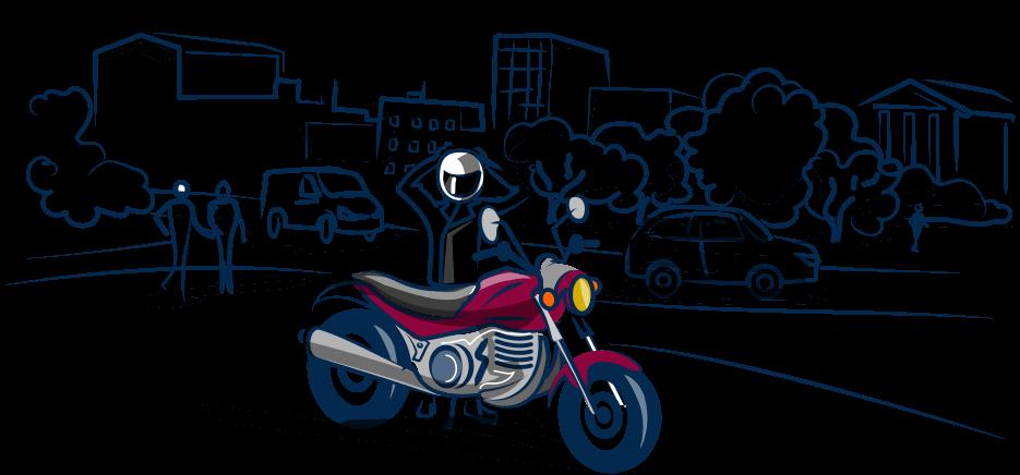 Aric Assurances frise moto en ville.