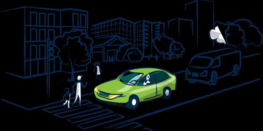 Aric Assurances frise voiture verte en ville.